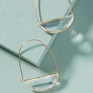 🔥NEW🔥 Anthro Large Stone Crescent Hoop Earrings